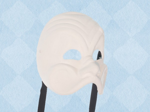 Máscara Arlequín en papel maché blanco