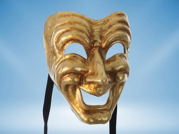 Máscara Comedia en dorado