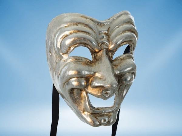 Máscara Comedia en plateado