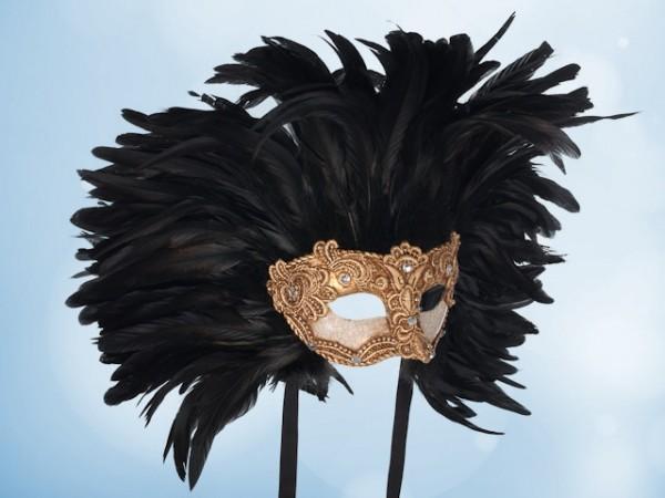Máscara de Baile en dorado con plumas negras para caballero