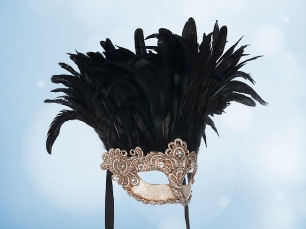 Máscara de Baile en plateado con plumas negras para dama