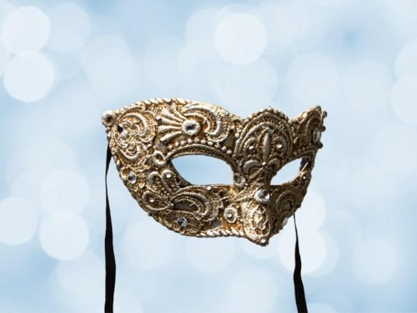 Máscara de baile veneciano para caballero en encaje plateado