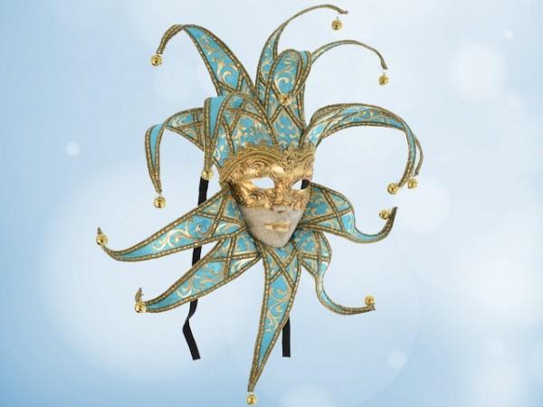 Máscara de bufona en seda turquesa