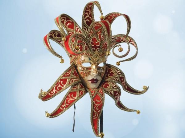 Máscara de bufona en terciopelo rojo