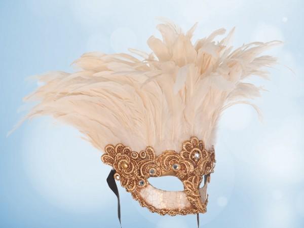 Máscara de plumas blancas con dorado