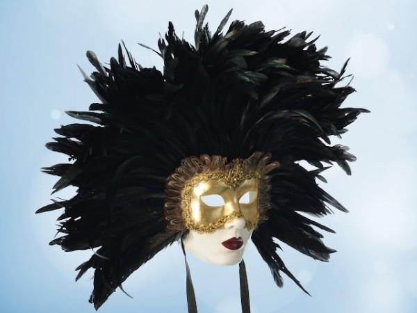 Máscara Ojos Bien Cerrados con plumas