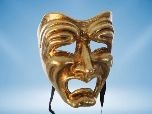 Máscara Tragedia en dorado