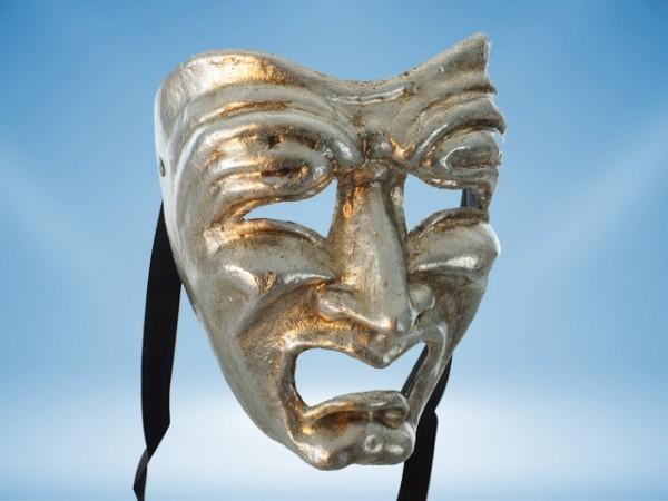 Máscara Tragedia en plateado