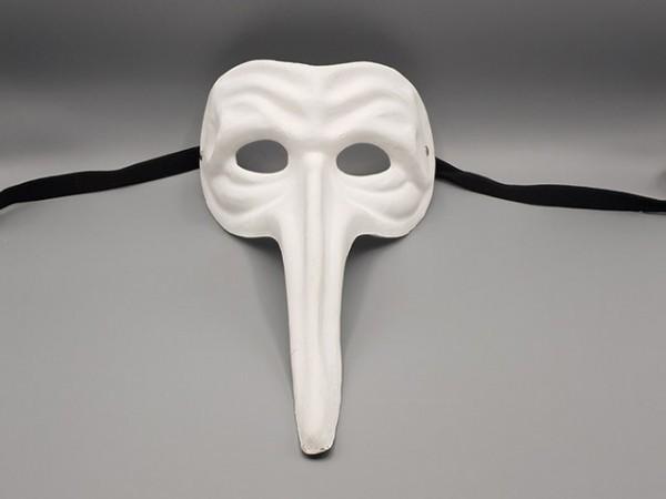 Máscara Capitán Matamoros de la Comedia del arte, en papel maché blanco