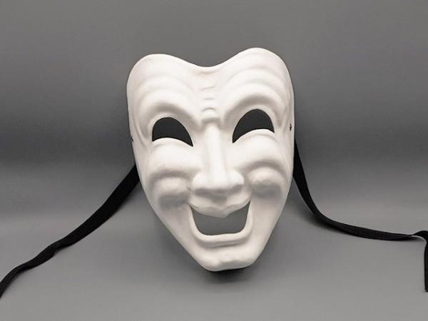 Máscara Ridi en papel maché blanco