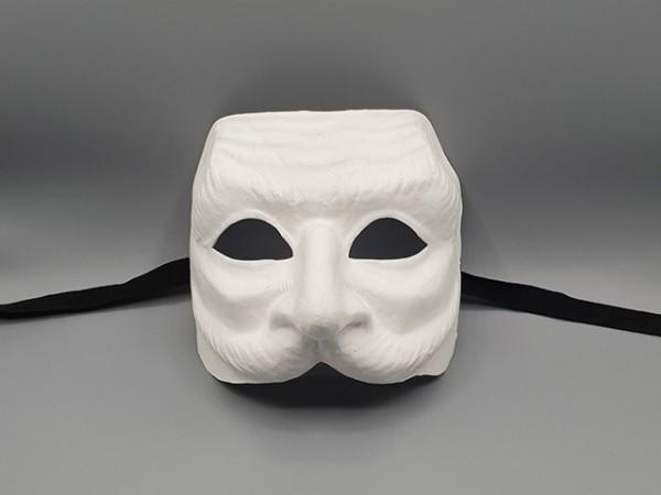 Máscara Pantaleón en papel maché blanco