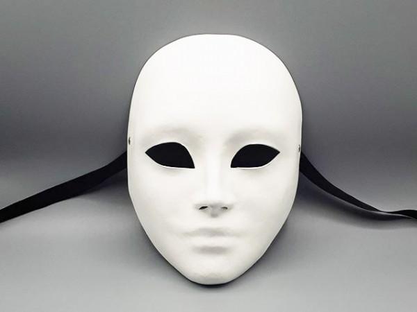 Máscara blanca de rostro completo en papel maché